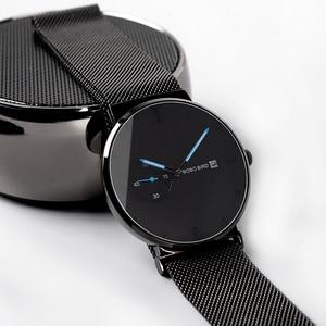 Image 2 - Relogio masculino BOBO BIRD luksusowy męski zegarek minimalistyczny czarny wzór siatka ze stali nierdzewnej pasek wyświetlanie daty prezenty własne logo