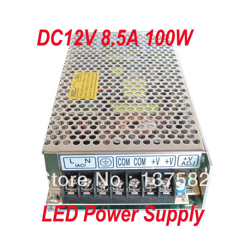Free shipping 100W switching led transformer 110/220V to 12V 8.5A led driver indoor for strip best, 1pc LED Power Supply free shipping czh618f 100c 100w 2u fm stereo radio transmitter exciter power adjustable from 0 to 100w