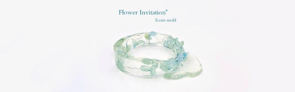 Fleur Invitation Bracelet Moule Ensemble Package_Transparent Silicone bracelet rond Moule Pour Résine Réel Fleur moule pour faire soi-même