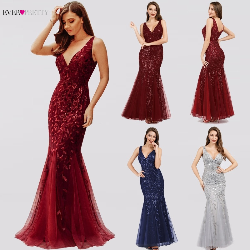 Burgundy Bridesmaid Dresses Ever Pretty Mermaid V-Neck Sleeveless Elegant Women Sexy Formal Party Dresses Vestidos De Gala 2019