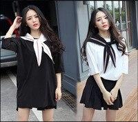 Autumn Korean Version of The British School Uniforms Skirts Japanese Students Suits White Black Short Sleeves Girls