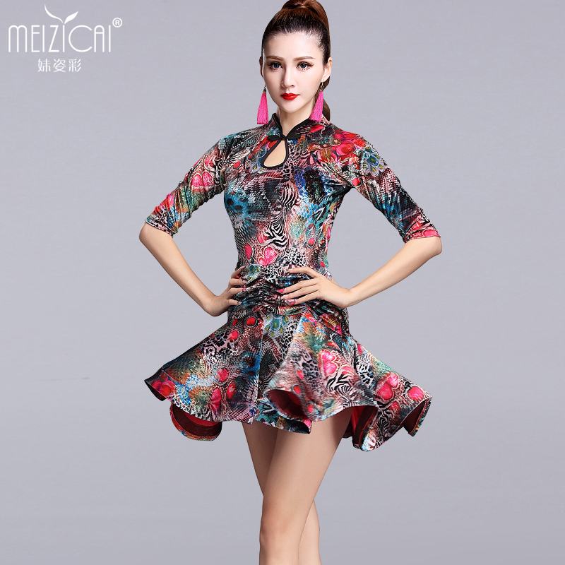 New velvet Latin dance costumes women tango salsa rumba modern dance dress latin dancing clothes Dancewear LY7031