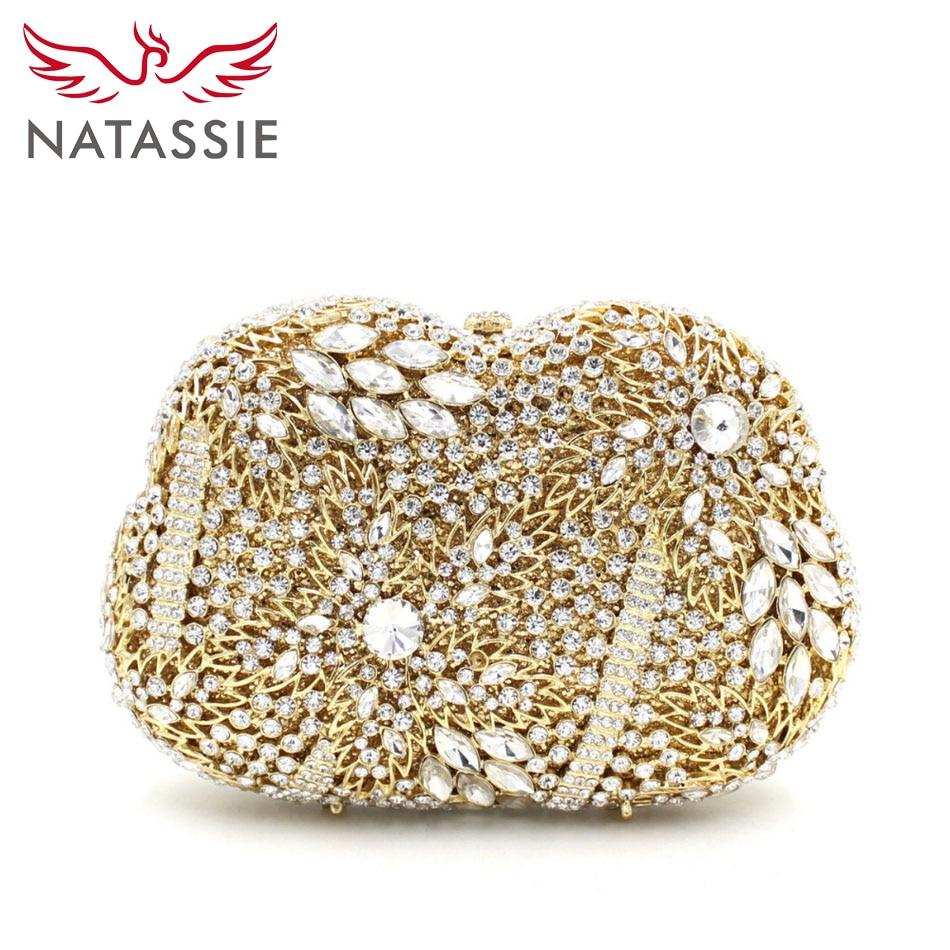 ФОТО NATASSIE Women Gold Luxury Crystal Wedding Bag Lady Black Evening Bag Charm Sisters Party Mini Shoulder Bags L2055