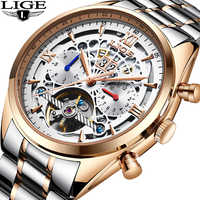 Mechanical Watch LIGE Top Brand Luxury Male Automatic Watch Men Casual Leather Military Waterproof Sport Watch Relogio Masculino