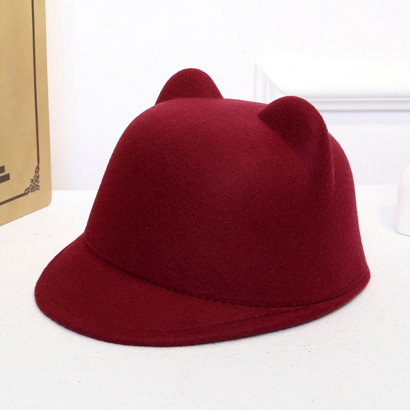 f72933a3ee0da Detail Feedback Questions about LASPERAL Women Causal Solid Colour 2018 New  Brand Winter Warm Round Bowler Cap With Cat Ears Wool Derby Devil Vintage  Hat on ...