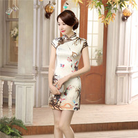 Summer Short Sleeve Traditional Chinese Women S Dress Elegant Flower Qipao Short Mini Cheongsam Tops Size