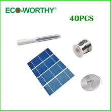 ECO-WORTHY 40PCS High power 2X6 solar cell full kit +flux pen +tab wire+bus wire +free shipping,solar panel DIY