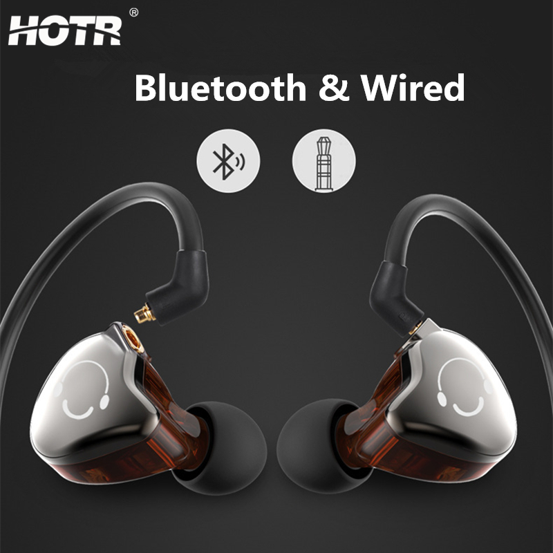HOTR 2-in-1 Removable Bluetooth Wired Earphone Detachable Earphone with MIC Sport Music Wireless Earpiece Stereo Headset Earbuds rock y10 stereo headphone earphone microphone stereo bass wired headset for music computer game with mic