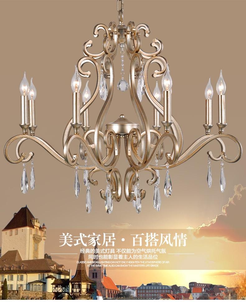 American bedroom chandelier creative personality retro European Mediterranean Restaurant simple iron crystal lamp