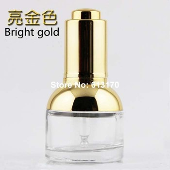 wholesale 50/lot 30ml 1OZ Empty dropper bottles Clear essential oil bottle glass press droppers vials with Gold shoulder