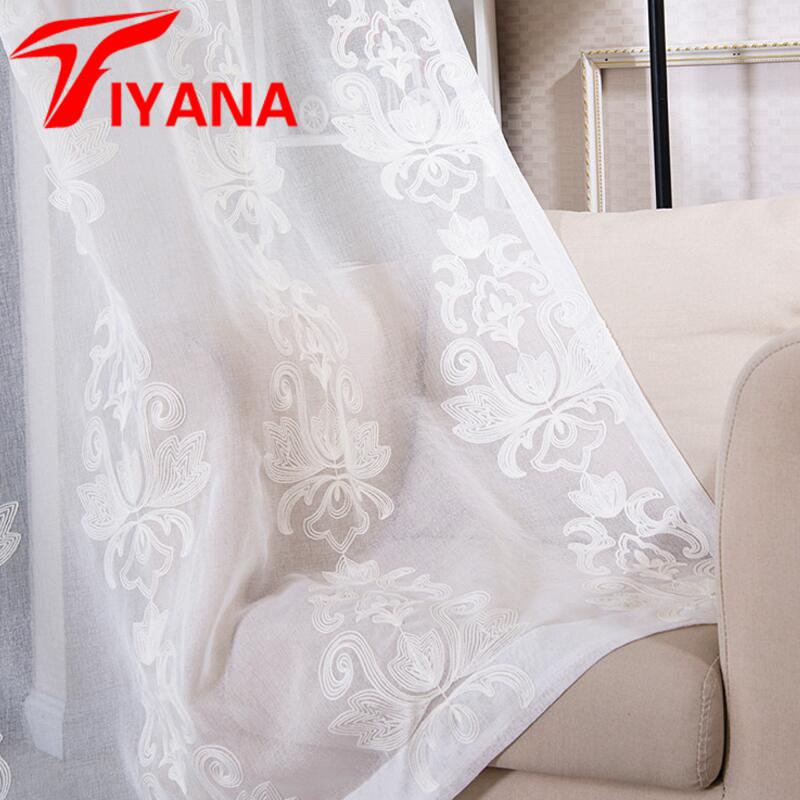 Europa Bestickt Weisse Blume Elegante Tll Gardinen Fr Mdchen Wohnzimmer Schlafzimmer Kche Tr Fenster P386Z30