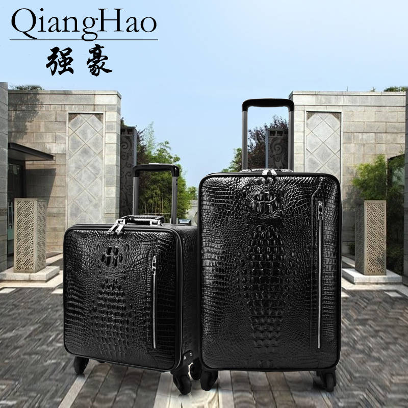 QiangHao 16 20 inch spinner wheel 100 genuine leather suitcase crocodile type cow leather luggage for
