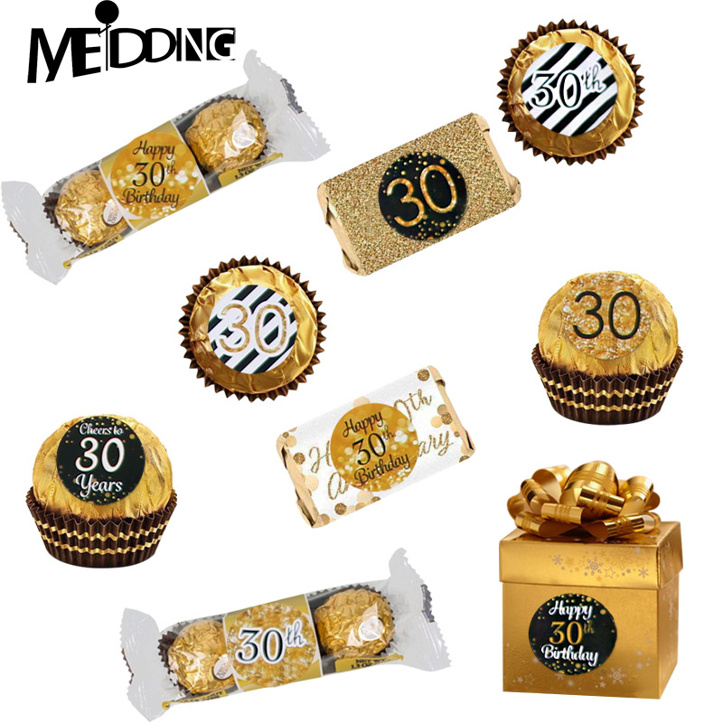 6 Page Happy 30/40/50 Birthday Paper Sticker 30 40 50 Year Old Event Party Gift and Candy Food Stickers Anniversary Party Decor-in Party DIY Decorations from Home & Garden