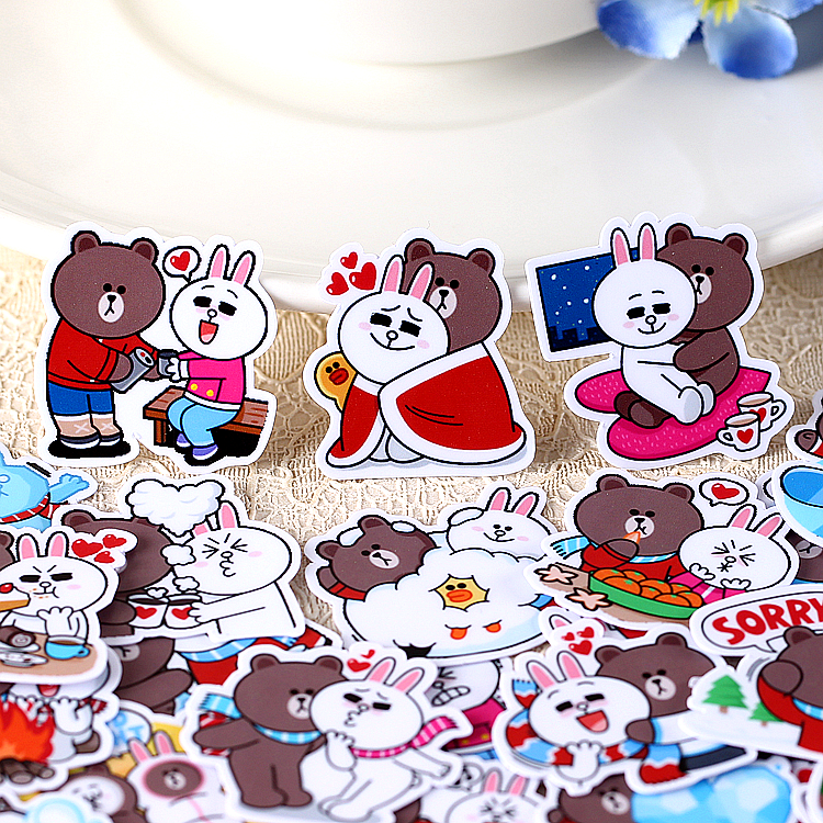 40pcs/pack Creative Cute Self-made Bear  Scrapbooking Stickers /decorative DIY Craft Photo Albums