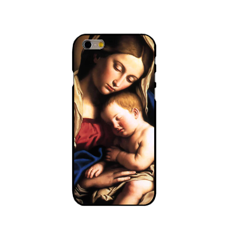 Virgin Mary Christian Christmas Hard Black Phone Case for iPhone 7 6 6S Plus 4 4S 5C 5 SE 5S Cover