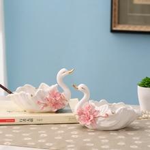 ceramic swan ashtray home decor crafts room decoration handicraft ornament porcelain figurines Living office decorations