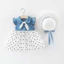 Summer Baby Girls Dress Casual Patchwork Bow Design Flare Sleeve Denim Cotton Mesh Dot Kids Toddler + Hat