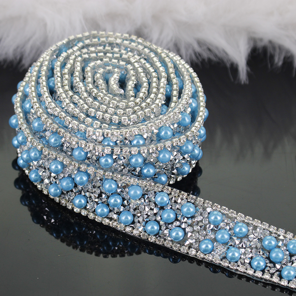 2yard Beaded Crystal Hot Fix Rhinestones Lace Ribbon Applique Iron On Motif Clothes Bag Decoration Sewing Accessories