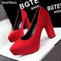 Sping Verão de alta Qualidade Nova Moda Sexy Womaen Único Rebanho Sapatos Ásperas Com Pontas Do Dedo Do Pé da Plataforma de Salto Alto das Mulheres escritório