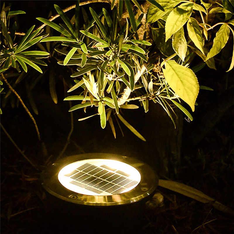 10 шт. водонепроницаемый светодиодный солнечные, из земли светильники из нержавеющей стали Открытый Солнечный утопленный в пол свет Открытый Сад Путь наземная лампа