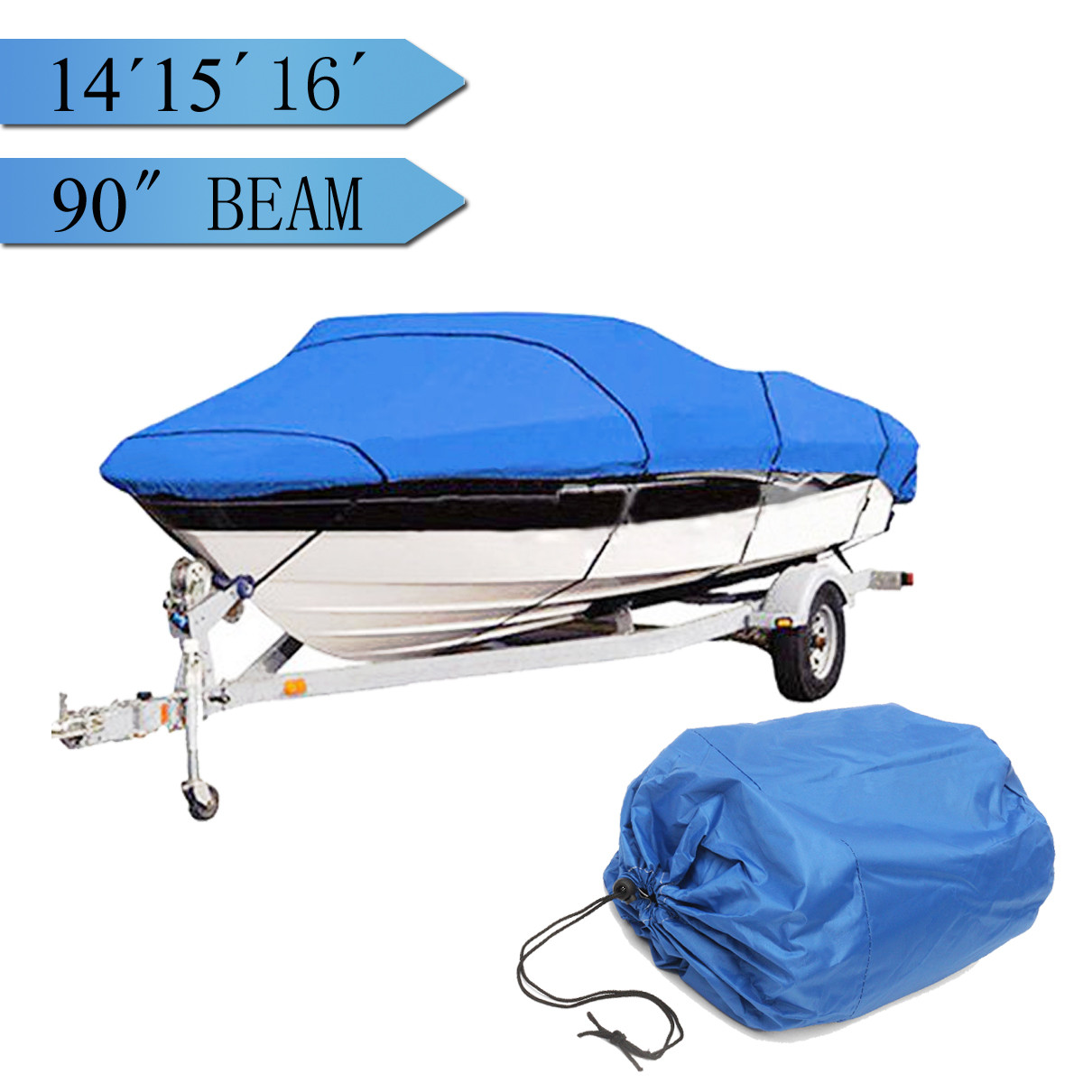 Heavy 14 16ft Beam 90inch Trailerable 210D Marine Grade Boat Cover Waterproof UV Protected Blue