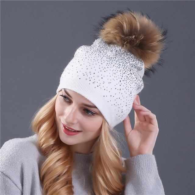 [Xthree] women winter beanie hat Rabbit fur wool knitted hat the female of the mink pom pom Shining Rhinestone hats for women