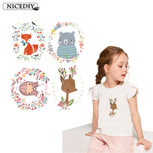 Nicediy Cartoon Cute Animal Patches Iron on Transfers For Clothes Fox Bear Girl Applique Thermal Transfer Press Washable Badge