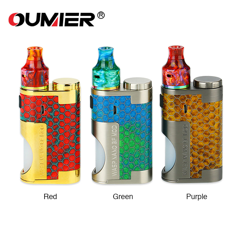 Original OUMIER WASP NANO MECH Squonk Kit with 8ml Bottle & WASP NANO RDA & Mechanical MOD E Cigarette Vape Kit Vs GBOX Squonker все цены