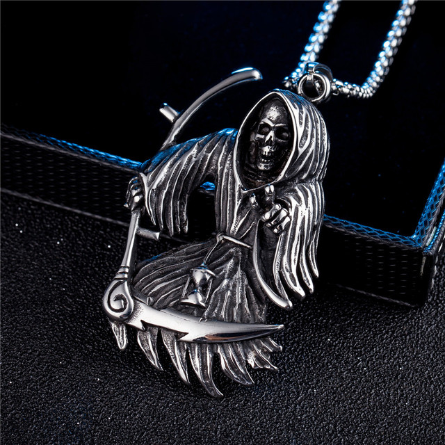 STAINLESS STEEL GRIM REAPER SKULL NECKLACE