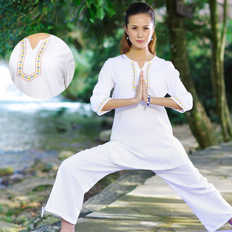 Chinese Traditional Clothing Sets Women Leisure Yoga Suit Cotton Linen Meditation Clothes