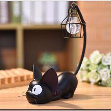 Productos Mini decoración del hogar ornamento resina pequeño gato negro noche luz escritorio figuras miniaturas niños Favor decoración del hogar y regalo