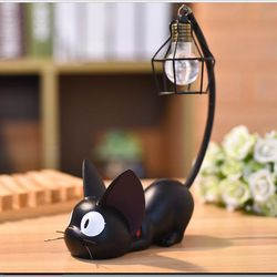 Products Mini Home Decor Ornament Resin Little Black Cat Night Light Desk Figurines Miniatures Kids Favor Home Decoration & Gift