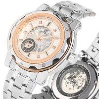 Exquisite Relógios Auto Vento Mecânico Automático Para Os Homens de Negócios de Esqueleto Premium Silivery Mecânicos Cinta de Aço relógios de Pulso