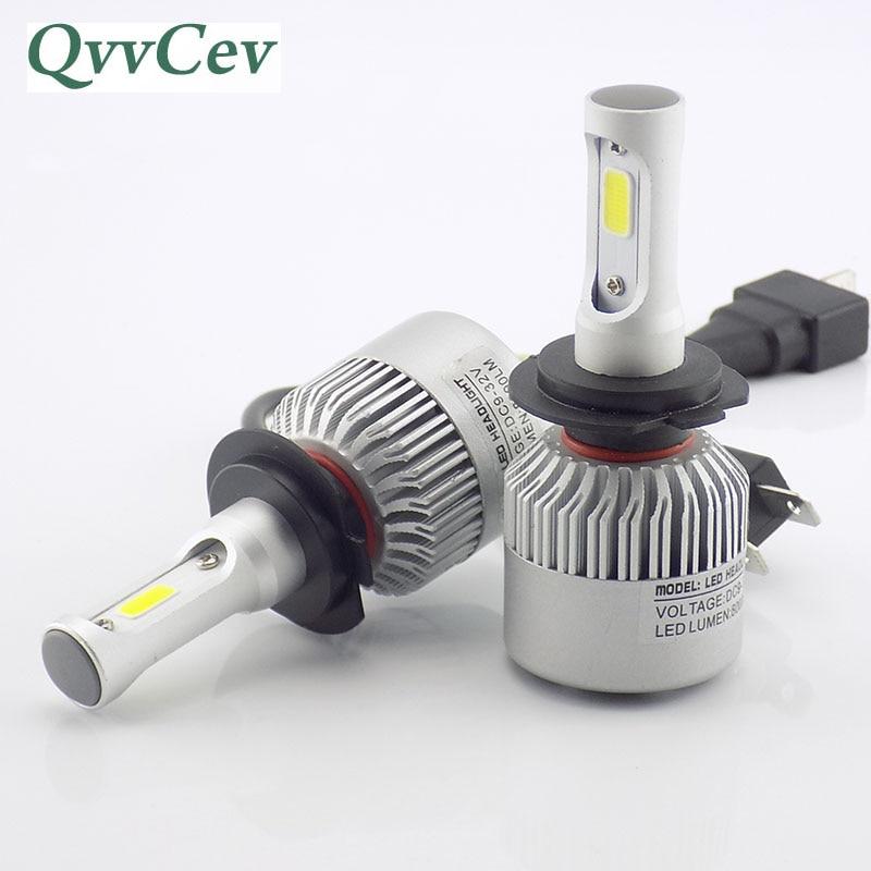 QvvCev Auto Lamp H4 H11 H8 9006 HB4 H3 HB3 COB H1 LED Car Headlight 72W 6500K High Low Beam H7 LED Auto Bulb Automobiles Light