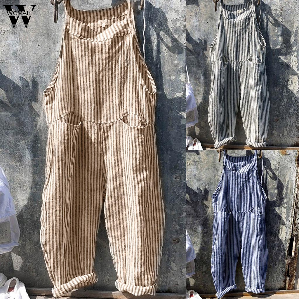 Womail bodysuit Women Summer Sleeveless Fashion Sexy Linen Casual Stripe Playsuit with Pocket Beach Wide Leg   Romper   Holiday M521