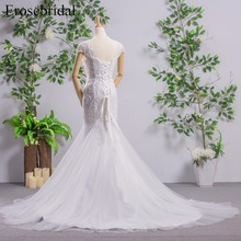 Mermaid Wedding Dress With Beading Lace Up Back Bridal Gown with Long Train Short Sleeves Bridal Dress vestido de noiva