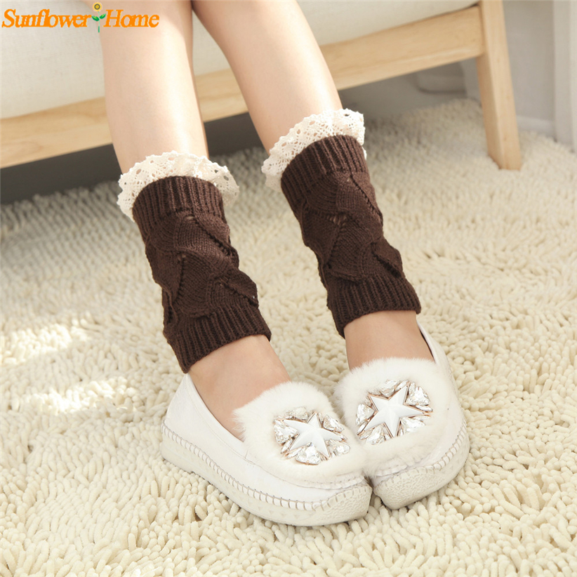 Newly Design Women Solid Hollow Lace Knitted Short Leg Warmers Boot Leg Cover 161121 Dro ...