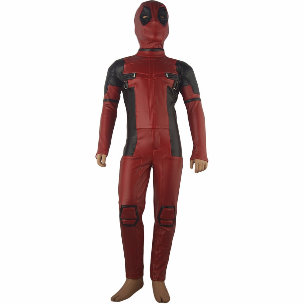 Kids Boys X-Men Superhero Deadpool Wade Wilson Children Jumpsuit Outfit Uniform  Halloween Party Cosplay Costume