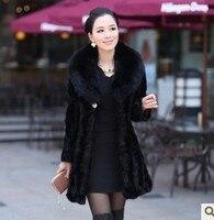 Реальный, натуральный, подлинный шуба из норкового меха Верхняя одежда меха лисы толстая, средне длинная норка пальто на меху для женщин; бо