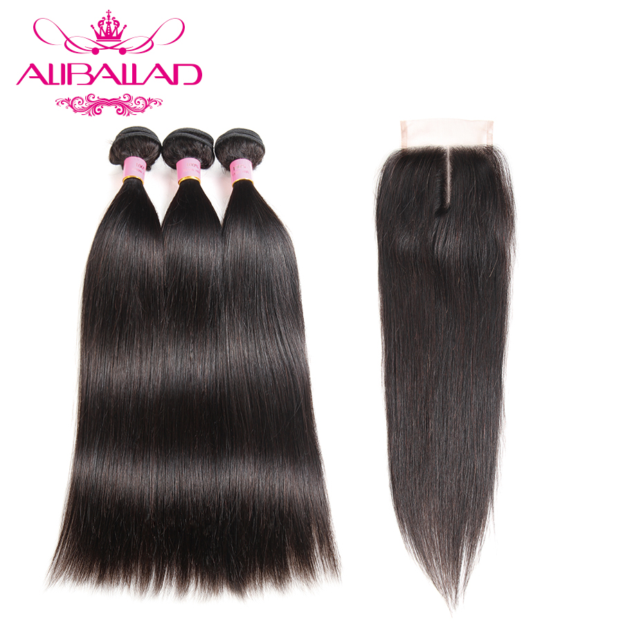 Aliballad Raw Indian Hair Bundles With Closure Straight Hair 3 Bundles With Closure Non Remy Human Hair And 4x4Inch Lace Closure ...