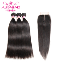 Aliballad Raw Indian Hair Bundles With Closure Straight Hair 3 Bundles With Closure Non Remy Human Hair And 4x4Inch Lace Closure