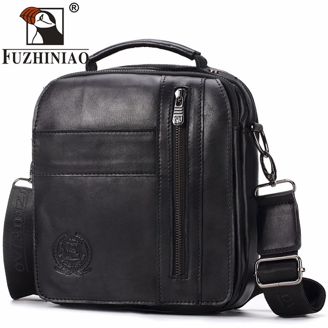 FUZHINIAO Genuine Leather Men s Bags Crossbody Bags Flap Male Messenger Bag  Men Small Ipad And Phone Holder Travel Shoulder Bag 6714ea800bbec