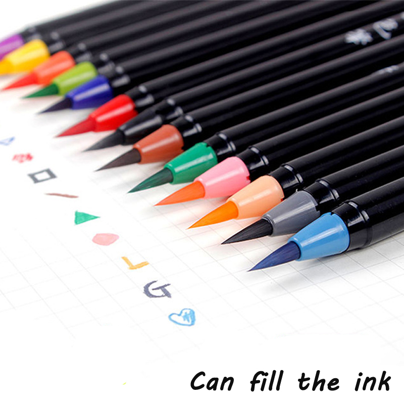 20 Colors Brush Pen Set Colored Smooth Soft Tip Fill The Ink Watercolor Brush Pen Painting Drawing Manga Student Art Supplies w110145 soft head fine water mark pen 48 60 color beginners painting professional equipment advanced ink student art suit