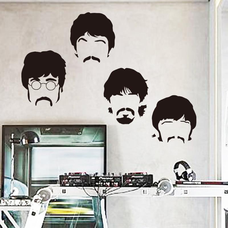 God kvalitet Art design musik team billige vinyl boligindretning væg klistermærke flytbare hus indretning tegneserie musiker rum dekaler