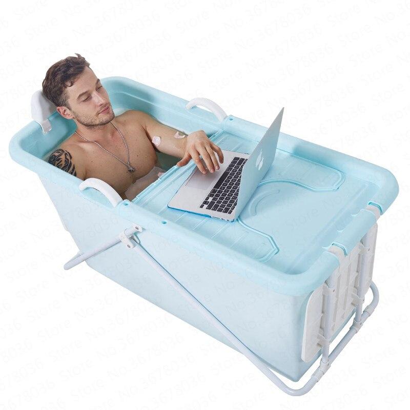 Pliable adulte Tube de bain de haute qualité en plastique bain baril maison isolation bain baril bain douche bassin 110 cm/124 cm longueur