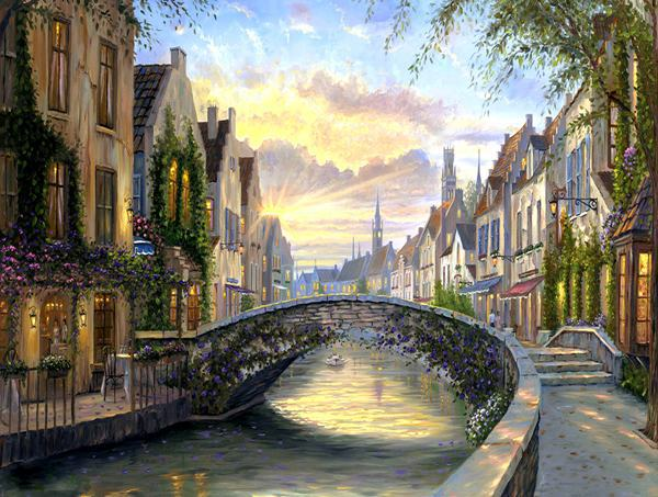 Free Shipping Mediterranean Venice Water Sunset Landscape Architecture Oil Painting Canvas