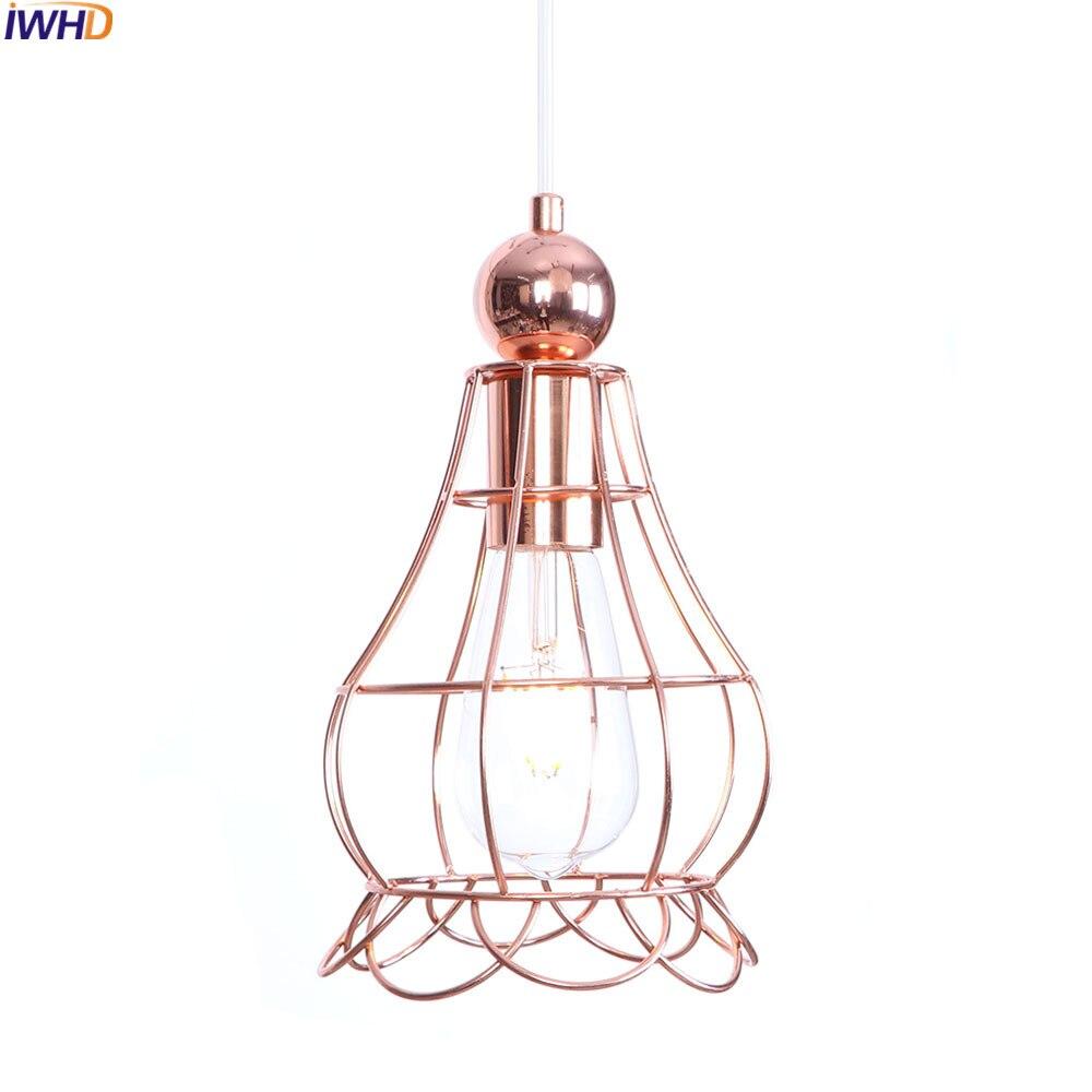 IWHD Nordic Modern LED Pendant Lights Rose Golden Cage Hanglamp Loft Hanging Lamp Fixtures For Home Lighting Luminaire Suspendu