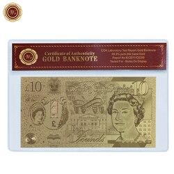 WR 10 фунтов позолоченная Фольга для банкнот английская копия бумага для денег Золотая Банкнота с оправой COA для сбора