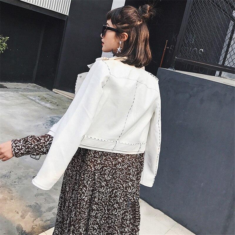 Manteaux Zipper Chaqueta Street En Manteau Poches Cuir Automne De 2018 White Base Faux Mujer Slim Court Des Fashion Veste Femmes Pu Blanc EUYwEH8q