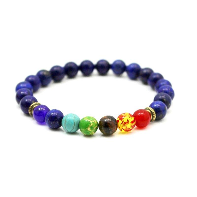 2017 Newst 7 Chakra Bracelet Men Black Lava Healing Balance Beads Reiki Buddha Prayer Natural Stone Yoga Bracelet For Women 3